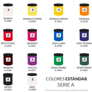 carta de colores tinta base agua serigrafia serie a colores estandar