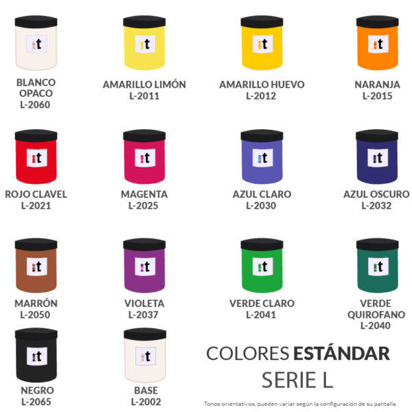 carta de colores tinta base agua serigrafia serie L colores estandar