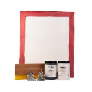 Kit-Inicio-en-serigrafia-marco-madera-entelado-rastrillo-madera-tinta-textil-blanca-tinta-textil-negra-bisagras