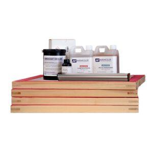 Kit-emulsion-con-desengrasante-recuperador-raedera-rastrillo-4-marcos-entelados-serigrafia